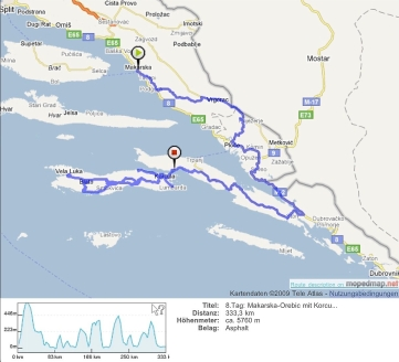 8.Tag: Makarska-Orebic mit Korcu